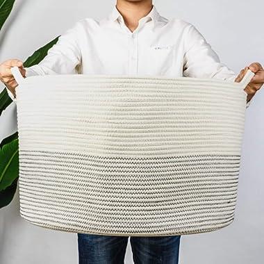 INDRESSME XXXLarge Cotton Rope Basket 21.7  x 21.7  x 13.8  Woven Baby Laundry Basket for Blankets Toys Storage Basket with Handle Comforter Cushions Storage Bins Thread Laundry Hamper-Black Stitch
