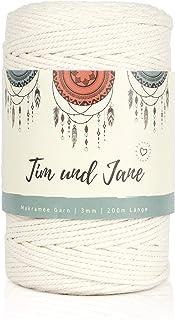 Tim und Jane Makramee Garn 3mm x 300m, gedreht   100% Baumwollgarn, Nicht Gebleicht   Natur Weiß   Makramee-Garn ohne Kern   Macrame Cord für Wandbehang, Blumenampel