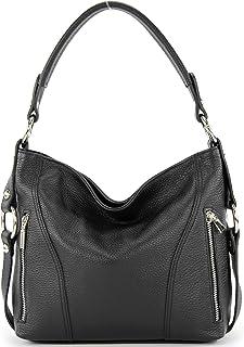 modamoda de - T202 - ital. Damen Henkeltasche Schultertasche aus Leder