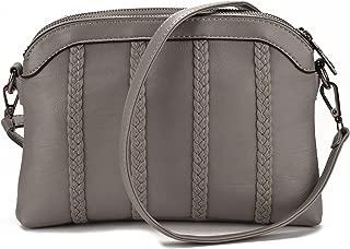 JIARUO Women PU Leather Crossbody bag purse Double Twin Pocket Shoulder bag handba