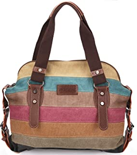 494af1a2bec7c8 Moceal Multi-Color-Striped Canvas Damen Handtasche/Umhängetasche Canvas Tasche  Shopper Hobo Bag