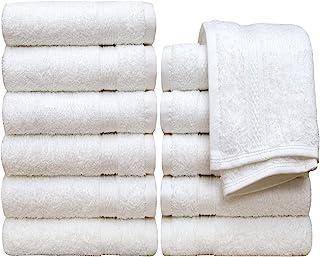 "Pleasant Home Wash Cloths Set - 12 Pack – 13"" x 13"" - 100% Cotton - 520 GSM - Soft & Absorbent (White)"