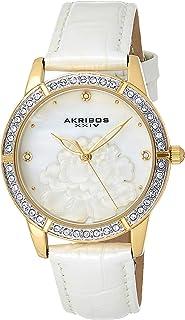 ساعة بسوار من الجلد من اكريبوس XXIV بمينا من عرق اللؤلؤ للنساء - AK805YG