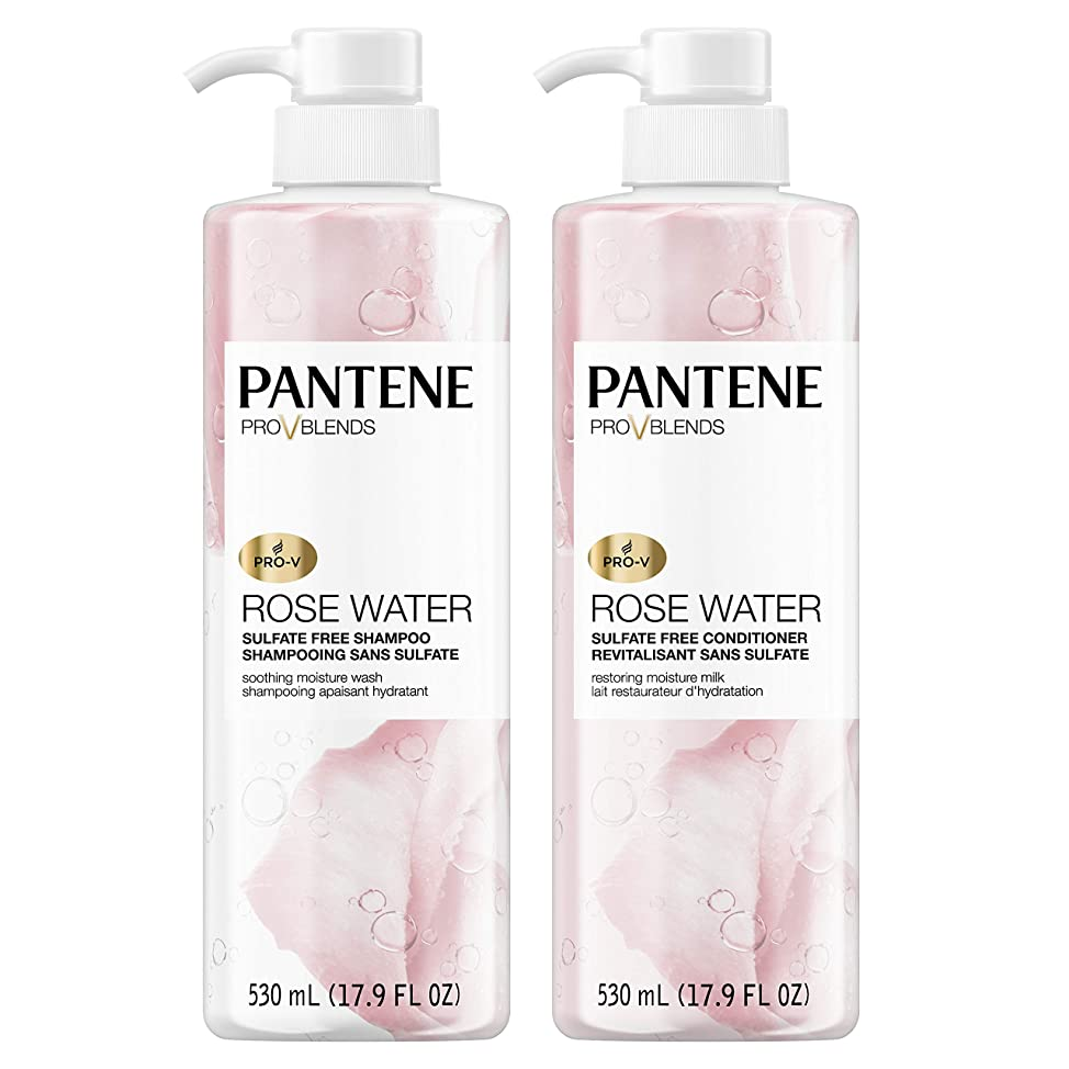 Pantene, Shampoo and Sulfate Free Conditioner Kit, Paraben and Dye Free, Pro-V Blends, Soothing Rose Water, 17.9 fl oz, Twin Pack vkxfbnbg070