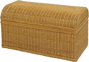 korb.outlet Truhe/Wäschetruhe aus Rattan mit rundem Deckel in der Farbe Honig