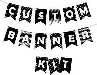 Decomod Custom Banner Kit Bunting & Letters Laser Cut Felt Customizable Length - Black & White