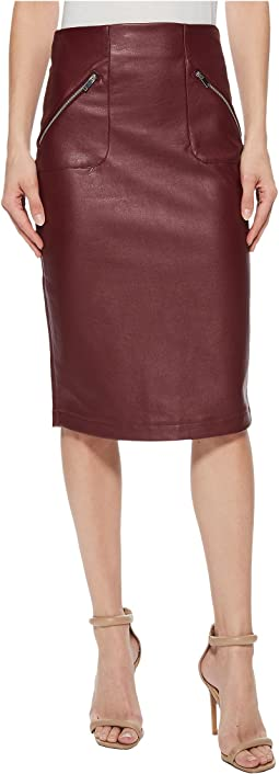 Faux Leather Skirt w/ Side Zip Pocket Detail