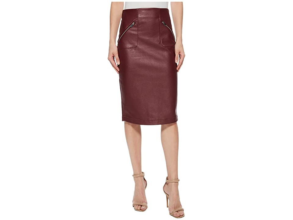 ROMEO & JULIET COUTURE Faux Leather Skirt w/ Side Zip Pocket Detail (Wine) Women