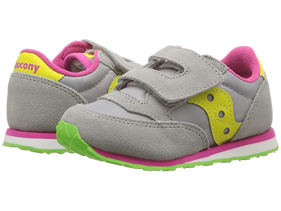 Saucony Kids Jazz Hook Loop (Toddler/Little Kid) (Grey/Yellow) Kids Shoes