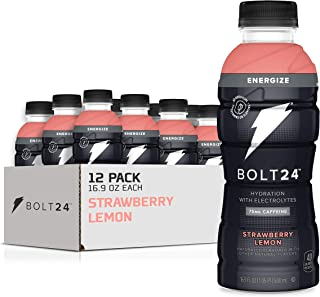 BOLT24 Energize + Caffeine, Advanced Electrolyte Drink Fueled by Gatorade, Vitamin A & C, 75mg Caffeine, Strawberry Lemon,...