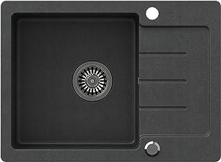 VBChome Spülbecken Schwarz 60 x 44 cm Granit Einzelbecken Einbauspüle gesprenkelt reversibel Verbundspüle  Siphon Waschbecken
