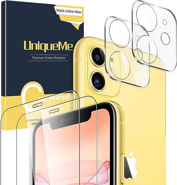 UniqueMe [2 Pack Protector de Pantalla paraiPhone 11 [6.1 Inch] + [2 Pack] Protector de Lente de cámara para iPhone 11 Vidrio Templado [9H Dureza ] HD Film Cristal Templado