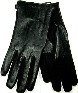 Embossed Half Leather Glove Black MD