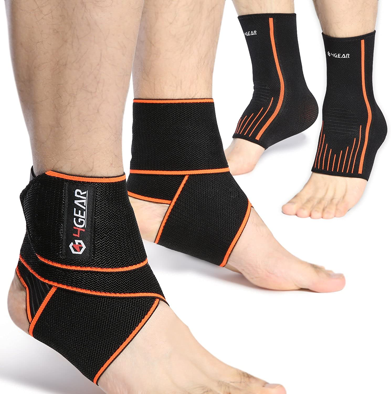 Ankle Brace Kit  Ankle Brace Straps (1 Pair) & Ankle Compression Sleeves Arch Supports (1 Pair)  Best Sports Predection, Injury Recovery, Reduce Swelling, Ankle Strain & Sprains Fatigue