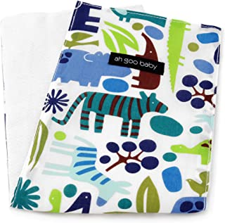 "Ah Goo Baby Burp Cloth 100% Cotton, Unisex, 14""x18"", Zoo Frenzy Pattern"