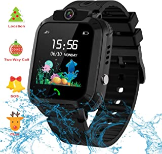 Themoemoe Kids GPS Watch. Kids Smartwatch with GPS Tracker Touch Screen IP68 Waterproof GPS/LBS Camera SOS Phone Game Birthday Gift for Girls Boys (Black)