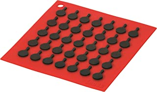 Lodge Silicone Square Trivet with Black Logo Skillets, Red, 7 Inches