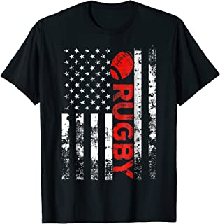 Rugby with Ball Vintage USA American Flag Shirt