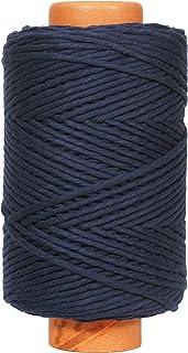 Crafteza Navy Blue Macrame Cord 4mm X 210 mt (About 689 ft) Single Strand Bulk Knotting Rope - Natural Virgin Cotton Handm...