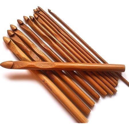 Top4pc Aiguilles Crochet à Tricoter en Bambou - Kit de 12 Tailles - pour Le Crochet, Le Tricot et Tous Types de Fil de Laine, de Coton, de Soie, de Lin - en Bambou de qualité