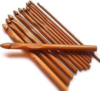 Top4pc Aiguilles Crochet à Tricoter en Bambou - Kit de 12 Tailles - pour Le Crochet, Le Tricot et Tous Types de Fil de Lai...
