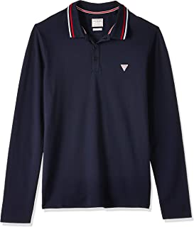 GUESS Men's Gore Long Sleeve Polo Knit Top