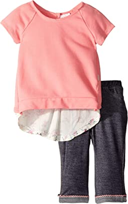 Flyaway French Terry Top/Denim Knit Capris Set (Infant)