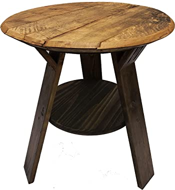 Bourbon Collection Whiskey Barrel Round Top End Table Rustic Wood Side Table with Shelf Accent Furniture