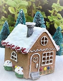 Miniature Mini Christmas Light Up Gingerbread House Gnome Holidays - Miniature Magic Scene Supplies Your Fairy Garden - Outdoor House Decor