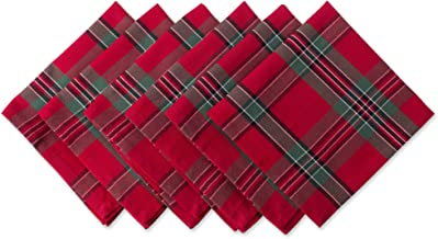 """DII Red Plaid 100% Cotton Oversized Napkin for Holidays, Family Gatherings, Christmas Dinner - Set of 6 (20x20"""")"""