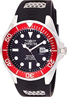 Invicta Pro Diver Men's Quartz Watch with Black Dial Analogue Display on Black Plastic Strap