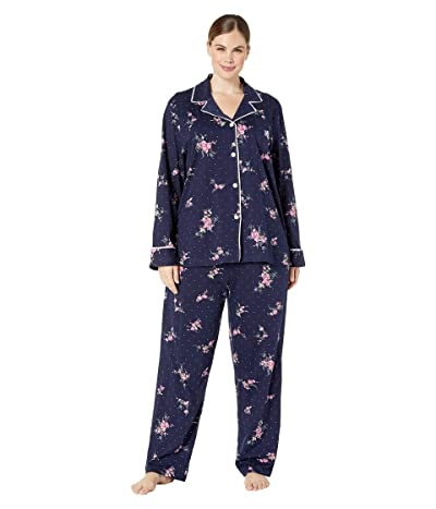 LAUREN Ralph Lauren Plus Size Classic Knits Long Sleeve Notch Collar Long Pants Pajama Set (Navy Print) Women