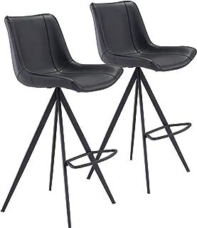 Zuo Modern Bar Chair (Set of 2) Black AKI
