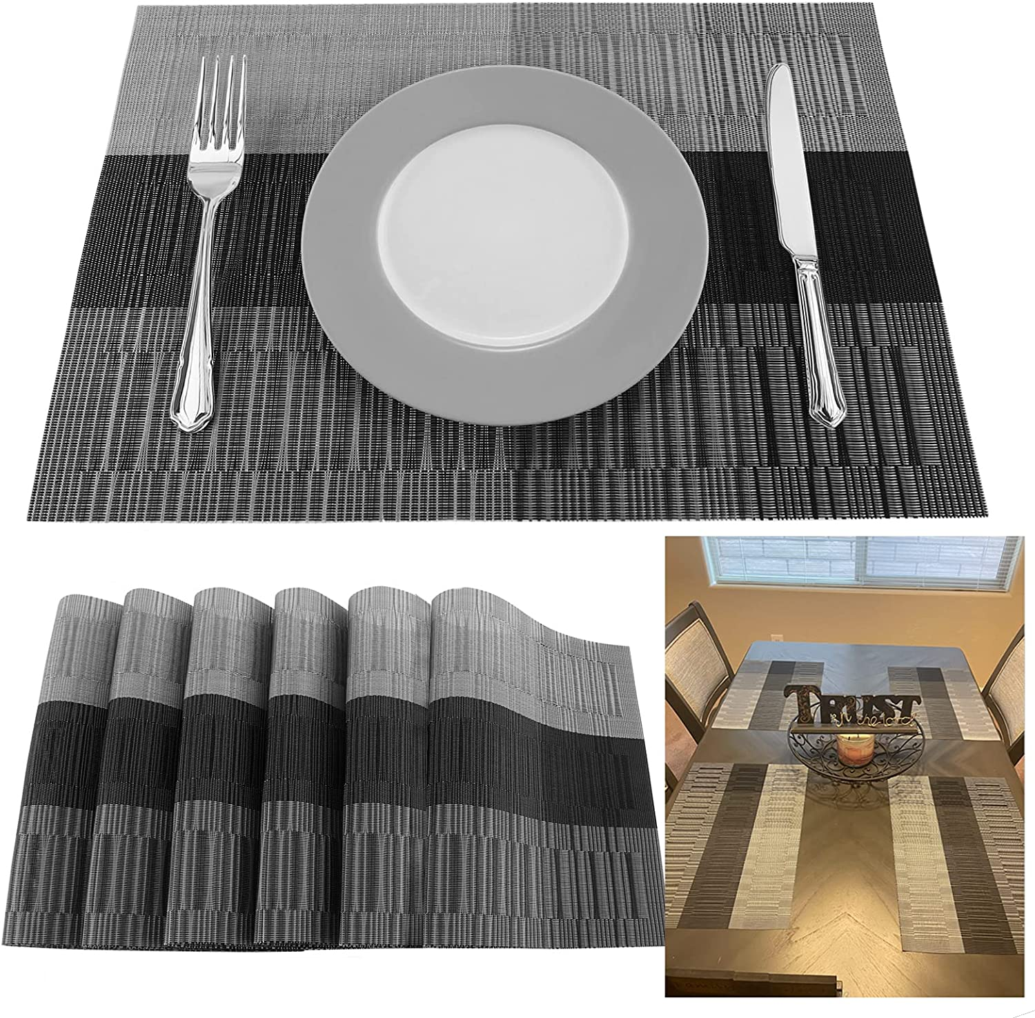 Atemws Placemats Vinyl Woven Dinning Table Mats Washable Non-Slip Farmhouse Place Mats Set of 6: Kitchen & Dining