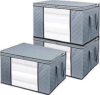 BoxLegend Lot de 3 Sac de Rangement pour Couette en épais Non-tissé Sac de Rangement sous lit Pliables Couette literie cou...
