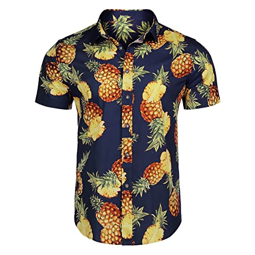 117790a0 Modfine Mens Hawaiian Shirt Long Sleeve Pineapple Button Down Casual Shirt  Holiday Floral Party Top