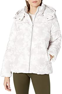 Calvin Klein Women's Polyfill Printed Puffer Jacket, Tie Dye Secret Combo, Small