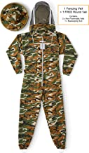 Natural Apiary Max Beekeeping Suit Outfit 2 x Non-Flammable Fencing Veil Mesh (Round & Fencing) Professional Bee Keeper Protection, X Large, Camouflage