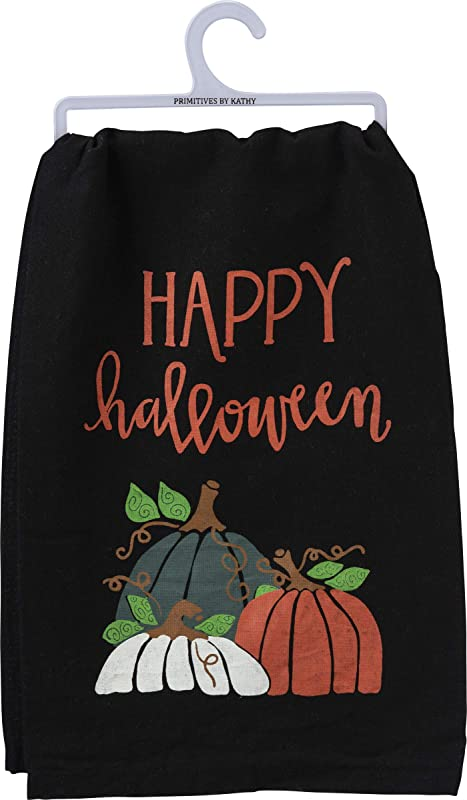 Primitives By Kathy Happy Halloween Kitchen Dish Towel Pumpkins Black