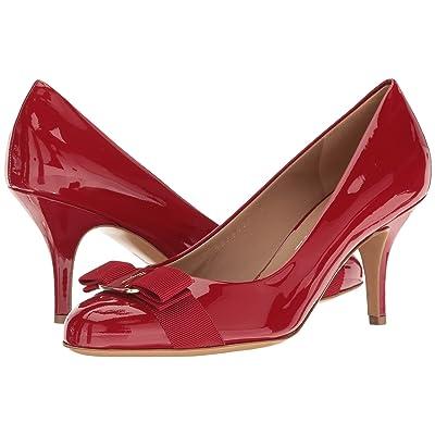 Salvatore Ferragamo Suede Mid-Heel Pump (Rosso Patent) High Heels