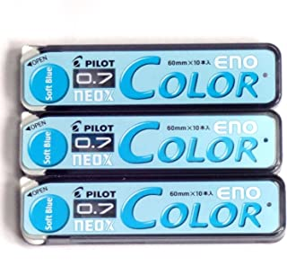 Pilot Color Mechanical Pencil Lead Eno, 0.7mm, Soft Blue, 10 Lead ×3 Pack/total 30 Leads (Japan Import) [Komainu-Dou Original Package]
