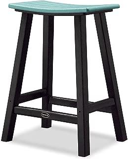 POLYWOOD 2011-FBLAR Contempo Counter Height Saddle Seat Barstool, Black Frame, Aruba