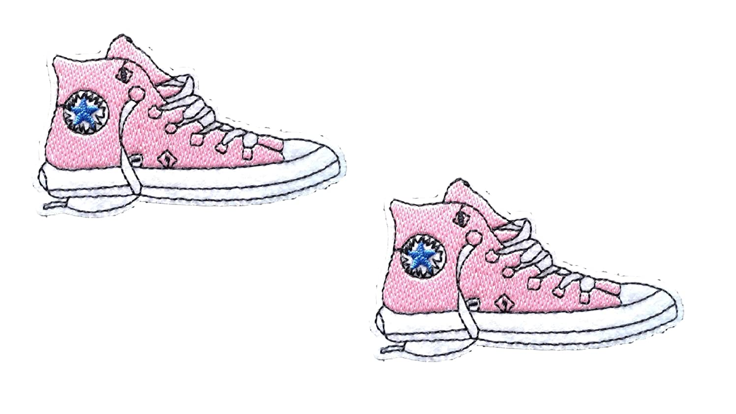 2 pieces LIGHT PINK SNEAKER SHOES Iron On Patch Applique High Top Footwear Motif Children Decal 2.9 x 1.9 inches (7.5 x 5 cm)