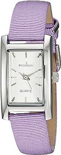 ساعة بيجو للنساء مستطيلة اللون وبسوار جلدي فضي 3008SBK