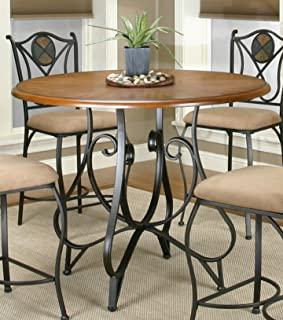 Sunset Trading Vail Dining Table, Espresso with distressed rustic medium oak top