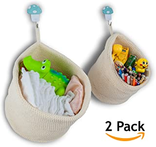 VIAMAZ Closet Organizers and Storage Hanging Basket Set of 2-size Best Space Saving Small Baskets for Bathroom Over the Door Baby Diaper Toy Bedroom Kitchen Home Décor Hotel Resort Spa Accessories