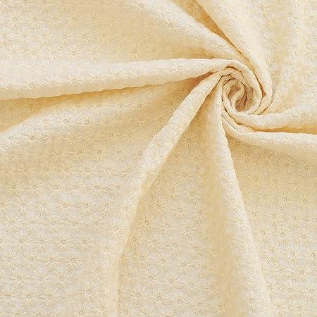 花柄 刺しゅう ダブルガーゼ 生地 マーガレット 綿 50cm単位販売 布 レース (ナチュラル)