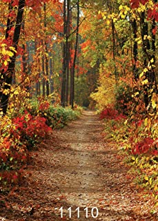 WOLADA 5x7ft Autumn Nature Scenic Photo Backdrop Fall Forest Path Photo Background Woods Fallen Leaves Lovers Kid Girl Boy Artistic Picture Outdoor Photoshoot Props Video Studio Drape 11110
