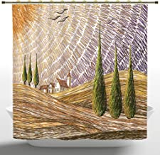 iPrint Funky Shower Curtain, Tuscan Decor,Van Gogh Style Italian Valley Rural Fields with European Scenery Digital Painting Artsy Print,Multi,Polyester Bathroom Accessories Home Decoration