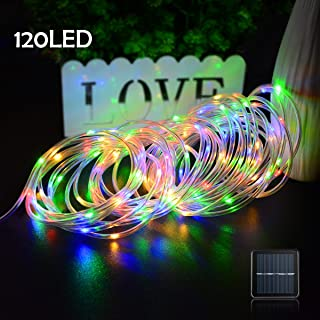 Lalapao Rope Lights 120 LED Solar Powered String Lights Christmas Fairy Decor Light with 8 Modes for Xmas Outdoor Indoor Tree Garden Patio Lawn Holiday Bedroom Wedding (Multi Color)